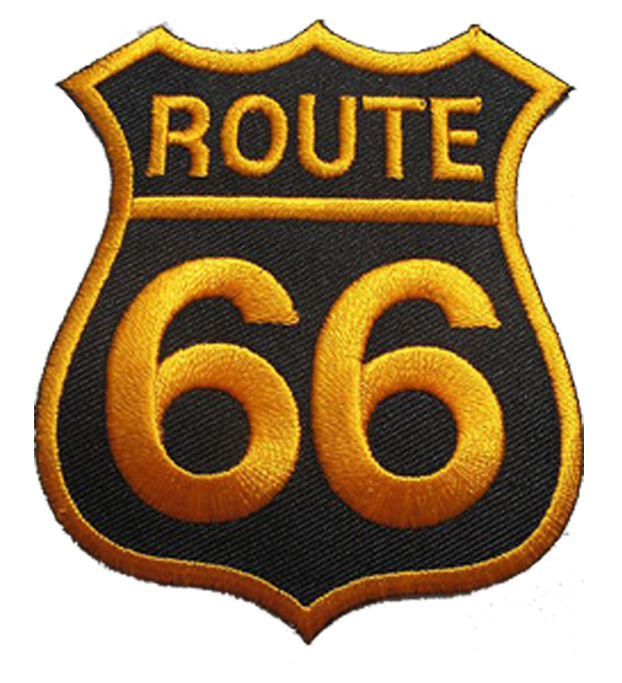 Route 66 Embroidery Patch Embroidery Woven Badges Labels Caps
